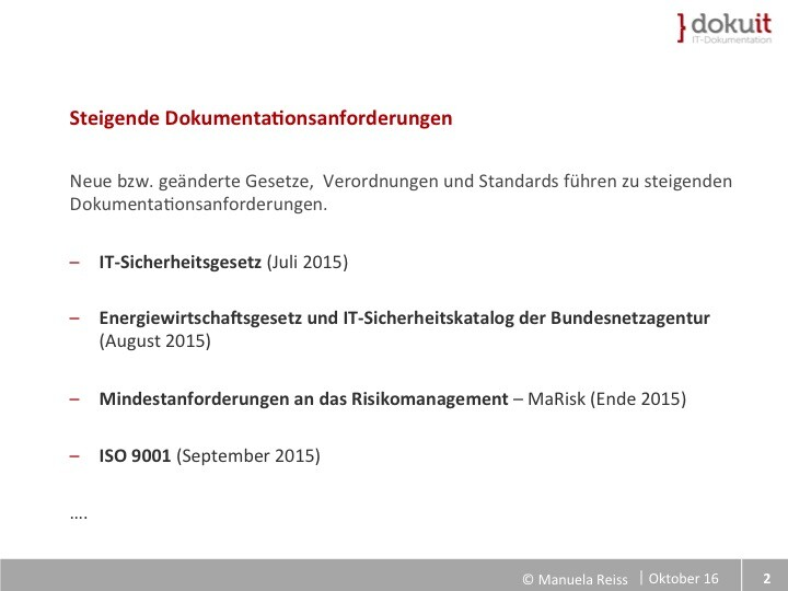 Folie Dokumentationsanforderung