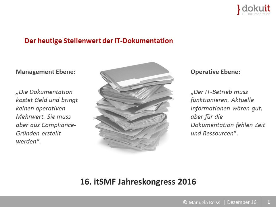 Folie Stellenwert der IT-Dokumentation